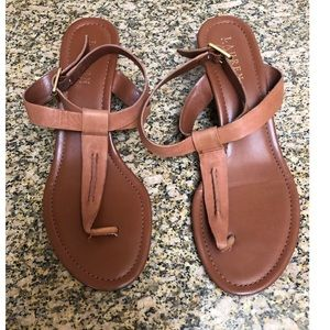 Ralph Lauren Tan Linda Leather Thong Sandals